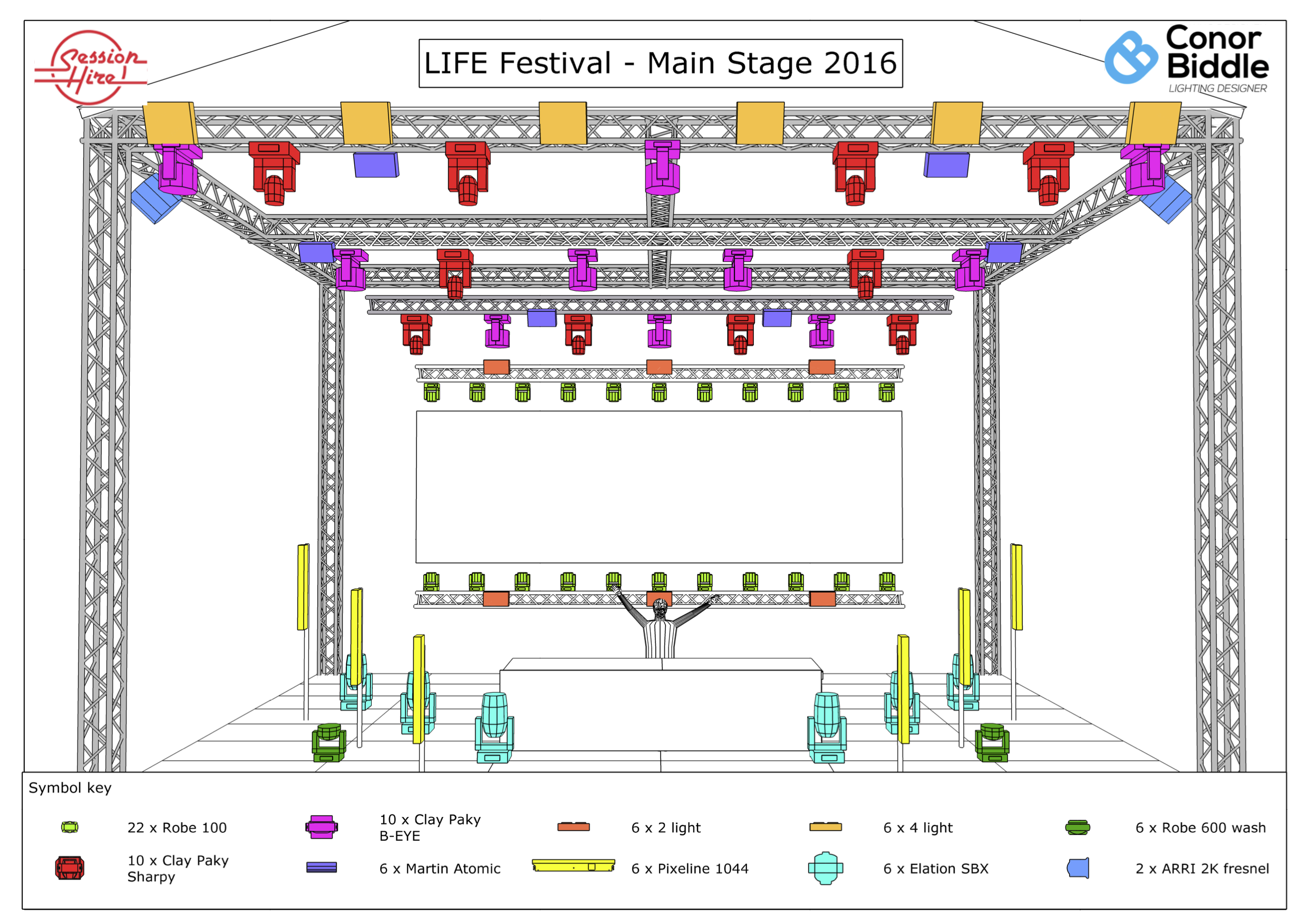 conor biddle lighting life main stage front view lx plot conor rh conorbiddle com Proscenium Stage Layout Floor Plan Stage Lighting Design Basics